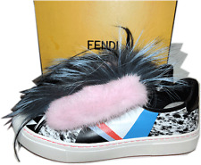 $1200 FENDI MONSTER Removable Mink Fox Fflynn Sneaker Fur Ballet Flat 40 Shoes