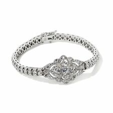 "XAVIER ABSOLUTE PAVE CENTER STATION STERLING SILVER 8"" BRACELET HSN $149.95"