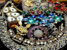 LOT OF VINTAGE AS-IS/BROKEN RHINESTONE/CRYSTAL JEWELRY FOR REPAIR/PARTS (E105)