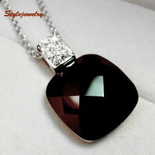 White Gold Filled Use Swarovski Crystal Women Black Square Onyx Necklace N174