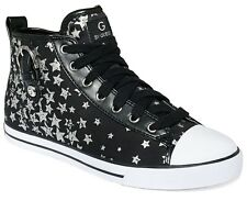 New G by Guess MAREE High Top Side Zip Lace-Up Sneakers Shoe Flat ~Black Star 10