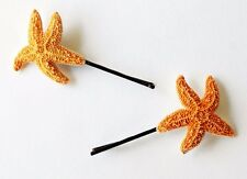 Cute Small Orange Starfish Mermaid Ariel Bobby Pin Hair Accessorie Nautical Clip