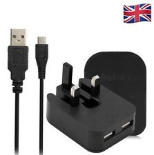 UK 5V/2A 2 USB MAINS PLUG WALL CHARGER + 1.5m Micro Cable FOR Sony Samsung Black