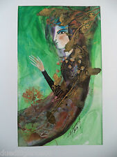 Cuban Cuba Artist Charo ORIG Hand SIGNED Painting LADY GREEN TWIGS HAVANA 76