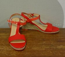 COLE HAAN Red Leather Coral Patent T Strap Open Toe Sandals Wedges - 10