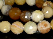 14MM HONEY YELLOW OPAL GEMSTONE YELLOW FACETED ROUND 14MM LOOSE BEADS 15.5""