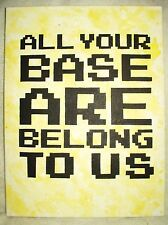 Canvas Painting All Your Base Are Belong To Us Yellow Art 16x12 inch Acrylic