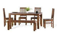 KraftNDecor Wooden Dining Set With 1 Table 1 Bench & 4 Chairs In Brown Colour