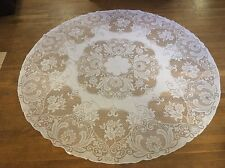 GORGEOUS VINTAGE WHITE ROUND LACE TABLECLOTH WITH HEARTS AND FLOWERS DESIGN 71""