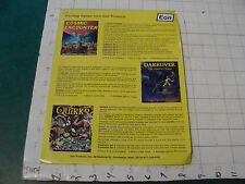 vintage paper: 2 single sided sheets 1982 from EON cosmic encounter quirks runes