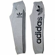 Mens Adidas Originals Track Bottoms Fleece Sweat Pants Linear Grey Size MED