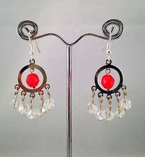Handmade Coral Red Beads Clear Crystal Bead Dangle Earrings Xmas Gift Party Club
