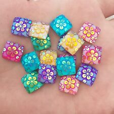 DIY Resin 40pcs square shape Flatback flower Rhinestone HOME decoration crafts