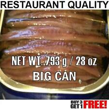 ANCHOVIES FLAT FiILLETS IN OIL Restaurant Quality 793 gr (28 oz) Big Anchovy Can