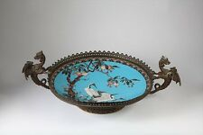 A LARGE ANTIQUE CHINESE CLOISONNE, BRONZE MOUNTED CENTER PIECE  WITH FIRE BIRDS.