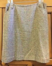 Kate Hill Casual Light Brown & Orange Tweed Skirt Size 14 Lined Pockets EUC