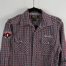 Ring Of Fire Pearl Snap Shirt Mens Size Large Red White Blue Plaid Rolled Sleeve
