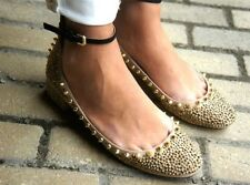 Zara Bloggers Gold Spike Ballerina Shoes 8