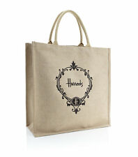 HARRODS JUTE RUBBER LINED LIMITED EDITION LARGE SHOPPER TOTE BAG  - LUXURY GIFT