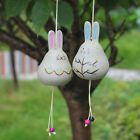 Hand drawing 2pcs Bunny Rabbit Ceramic Porcelain Hanging Craft Wind Chime Gift