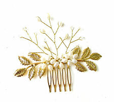 Gold Ivory Vine Olive Leaves Hair Comb Bead Grecian Bridal Wedding Pearl 1243