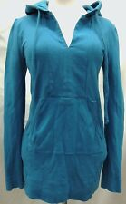Juicy Couture Teal Blue Popover Pullover Hooded Shirt Jacket M