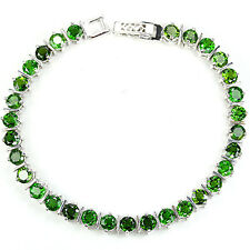Sterling Silver 925 Faceted Genuine Natural Chrome Diopside Bracelet 7.5 Inches