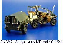 Eduard 1/24 Willys Jeep MB Cal.50 # 35682