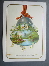 ANTIQUE Greetings Card Christmas Bell with Swiss Scene & Glitter CHROMO Litho