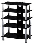 """Black Glass & Stainless Steel TV Media Entertainment Unit HiFi or TV Stand 42"""""""