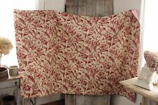 Antique French red toile Quilt gingham backing c 1850 bird insect floral print