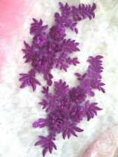 "Embroidered 3D Appliques Purple Floral Lace Mirror Pair 8.25"" (DH68) DIY"