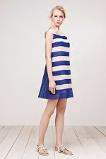 TADASHI SHOJI Blue White Striped Micro Floral LACE Tunic Sheath Dress 12