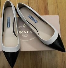 AUTHENTIC! $650 PRADA SPAZZOLATO BICO BLACK/WHITE SHOES SZ 37/ 7 US