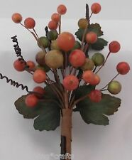 """LOT OF 4 FALL/ THANKSGIVING 8"""" ORANGE AND GREEN  BERRY PICK DECORATION"""
