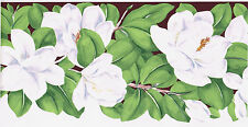 White Magnolia Gardenia Jasmine Flower Floral Sculptured Brown Wallpaper Border
