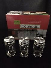 3 JARS, GLASS MEDICAL HERB STASH JARS ODOR LESS AIR TIGHT LOCKING JARS
