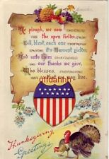 """THANKSGIVING GREETINGS """"We plough, we sow the open fields..."""" embossed 1912"""