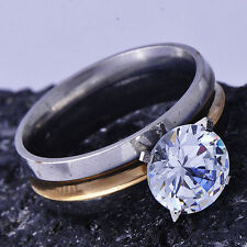 Womens jewelry Yellow/White Gold Filled clear big crystal Wedding Ring Size 6