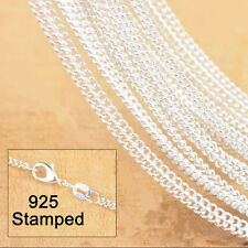 5PCS 22 inch 925 Sterling silver plating Flat Curb Chain Necklaces