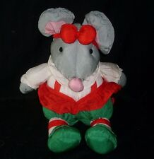 "13"" VINTAGE DEPARTMENT 56 NYLON CHRISTMAS GREY MOUSE STUFFED ANIMAL PLUSH TOY"