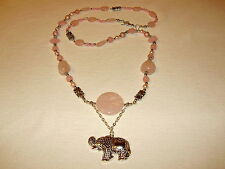 COLLANA IN QUARZO ROSA CON ELEFANTE- NECKLACE WITH PINK QUARTZ &ELEPHANT