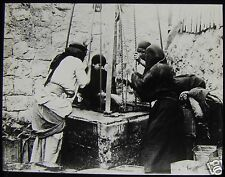 Glass Magic Lantern Slide WOMEN AT THE WELL HAIFA C1910 ISRAEL