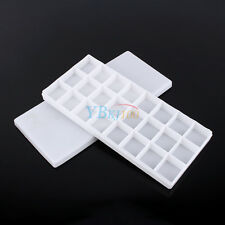 White Plastic 24 Compartments Watercolor Paint Painting Tray Mixing Palette