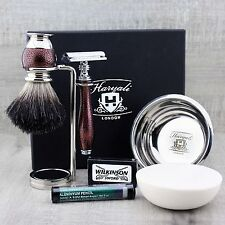 5 PIECE SHAVING SET (Black Badger Brush DE Safety Razor Stand Soap Bowl + Soap)