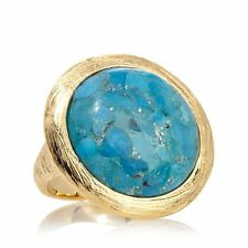 BELLEZZA GOLDTONE CUSHION CUT TURQUOISE DIAMOND CUT BRONZE RING SIZE 10 HSN