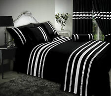 DOUBLE BED BLACK / SILVER RIBBON 200 THREAD COUNT HOTEL QUALITY DUVET COVER SET
