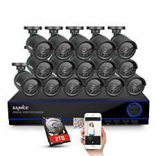 SANNCE HD 1080N 16CH DVR 1500TVL 720P IR Night Vision Security Camera System 2TB