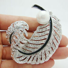 Bridal Peacock Feather Silver-tone Pearl Brooch Pin Clear Austria Crystal