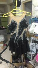 black ice competition skating dress women figure dresses custom spandex crystals